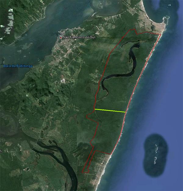 São Francisco do Sul - Demarcação do Parque Acaraí em vermelho - Mapa Google Earth