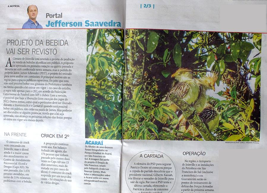 Reprodução jornal A Notícia.
